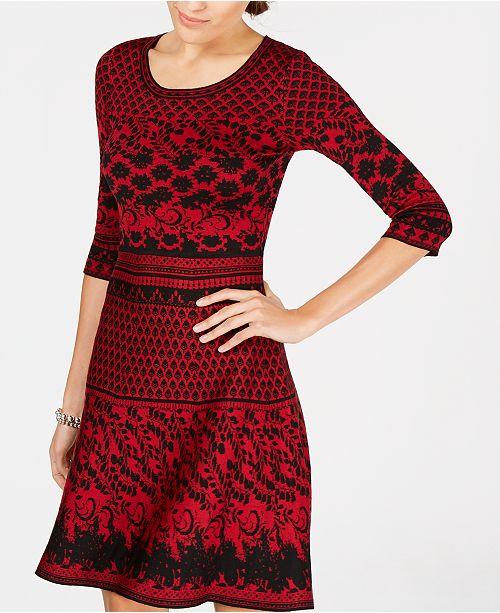6fc1beeb12f Taylor Jacquard Fit   Flare Sweater Dress   Reviews - Dresses ...