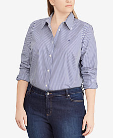 Lauren Ralph Lauren Plus Size Embroidered Cotton Shirt