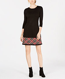 Jessica Howard Petite Plaid-Hem Sweater Dress
