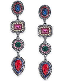 I.N.C. Hematite-Tone Multicolor Crystal Linear Drop Earrings, Created for Macy's