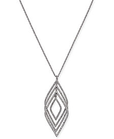 "I.N.C. Silver-Tone Pavé Multi-Layer Pendant Necklace, 30"" + 3"" extender, Created for Macy's"