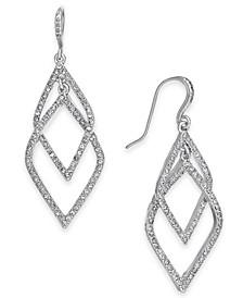 INC Silver-Tone Pavé Orbital Drop Earrings, Created for Macy's