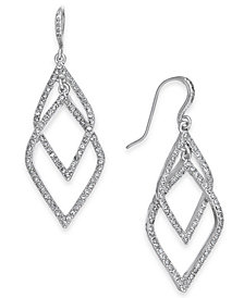 I.N.C. Silver-Tone Pavé Orbital Drop Earrings, Created for Macy's