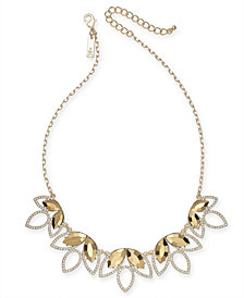 "I.N.C. Gold-Tone Stone & Pavé Statement Necklace, 18"" + 3"" extender, Created for Macy's"