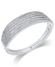 I.N.C. Silver-Tone Pavé Layered Hinged Bangle Bracelet, Created for Macy's