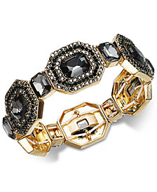 I.N.C. Gold-Tone Multi-Crystal Stretch Bracelet, Created for Macy's