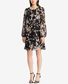 American Living Floral-Print Bishop-Sleeve Dress