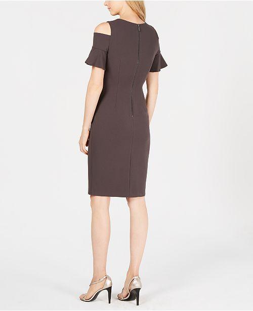 88465d2bf77d Calvin Klein Petite Cold-Shoulder Sheath Dress   Reviews - Dresses ...