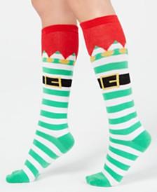 Charter Club Women's Elf Stripe Knee-High Socks, Created for Macy's