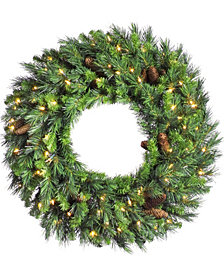 "60"" Cheyenne Pine Artificial Christmas Wreath with 400 Clear Lights"
