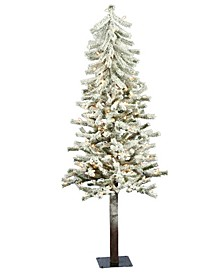 5' Flocked Alpine Artificial Christmas Tree with 150 Clear Lights