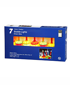 7 Multi-Colored Bubble Lights on Green Wire, 13' Christmas Light Strand 5 watts per bulb