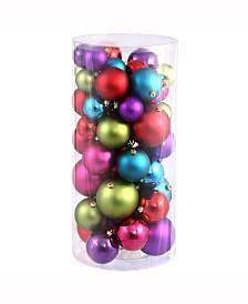 """Vickerman 1.5""""-2"""" Multi-Colored Shiny/Matte Ball Christmas Ornament, 50 per Box"""