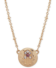 "lonna & lilly Gold-Tone Crystal Hamsa Pendant Necklace, 16"" + 3"" extender, Created for Macy's"