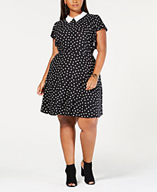 Monteau Trendy Plus Size Collared A-Line Dress