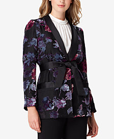 Tahari ASL Shawl-Collar Printed Smoking Jacket