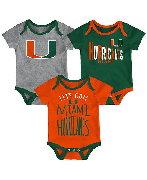 Outerstuff Miami Hurricanes Lil Tailgater 3 Piece Set, Infants (0-9 Months)