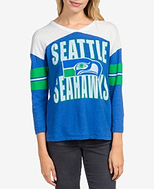 Junk Food Women's Seattle Seahawks Liberty Throwback Raglan T-Shirt
