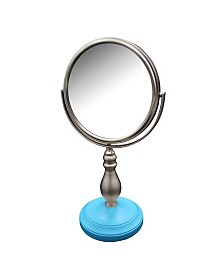 Annabella Freestanding Bath Magnifying Makeup Mirror with Deep Sea Blue base and Chi Chi Pedestal