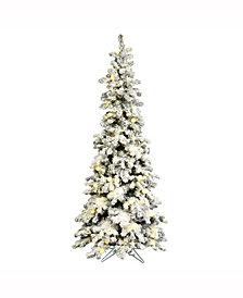 6' Flocked Kodiak Spruce Artificial Christmas Tree with 450 Warm White LED Lights