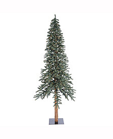 8' Natural Bark Alpine Artificial Christmas Tree with 400 Clear Lights