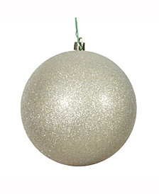 "6"" Champagne Glitter Ball Christmas Ornament, 4 per Bag"