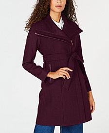 Vince Camuto Faux-Leather-Trim Asymmetrical Coat