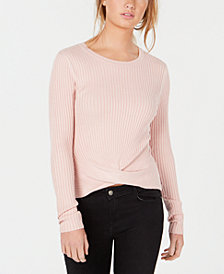 Hooked Up by IOT Juniors' Ribbed Twist-Hem Top