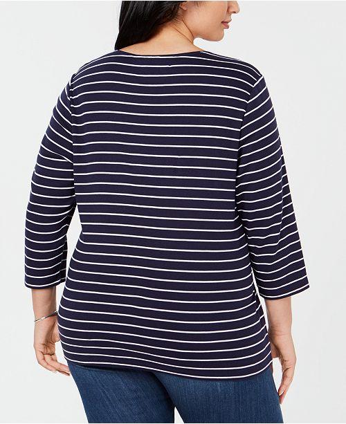 0bb7d7629d44c Karen Scott Plus Size Cotton Holiday Flip-Flop T-Shirt