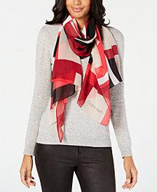 Calvin Klein Colorblocked Chiffon Scarf