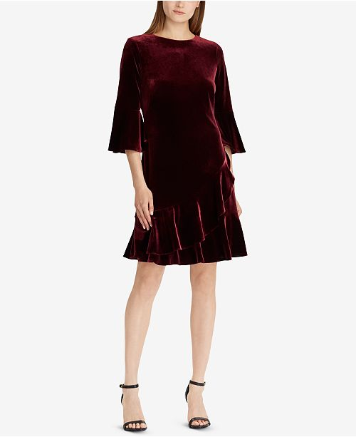 5eb8f3562a1 Lauren Ralph Lauren Ruffle-Trim Velvet Dress   Reviews - Dresses ...