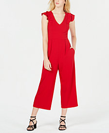 Speechless Juniors' Ruffle-Sleeve Jumpsuit