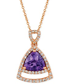 "Grape Amethyst (1-5/8 ct. t.w.) & Vanilla Diamond (1/3 ct. t.w.) 18"" Pendant Necklace in 14k Rose Gold"