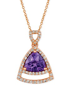 "Le Vian® Grape Amethyst (1-5/8 ct. t.w.) & Vanilla Diamond (1/3 ct. t.w.) 18"" Pendant Necklace in 14k Rose Gold"
