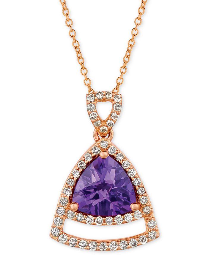 "Le Vian - Grape Amethyst (1-5/8 ct. t.w.) & Vanilla Diamond (1/3 ct. t.w.) 18"" Pendant Necklace in 14k Rose Gold"