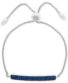 EFFY® Sapphire Cluster Bolo Bracelet (1-1/10 ct. t.w.) in Sterling Silver