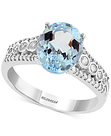 EFFY® Aquamarine (2-1/3 ct. t.w.) & Diamond (1/4 ct. t.w.) Ring in 14k White Gold