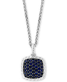 "EFFY® Sapphire Cluster 18"" Pendant Necklace (1-1/2 ct. t.w.) in Sterling Silver"