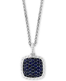 """EFFY® Sapphire Cluster 18"""" Pendant Necklace (1-1/2 ct. t.w.) in Sterling Silver"""