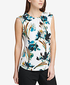 DKNY Floral-Print Pleated Shell, Created for Macy's
