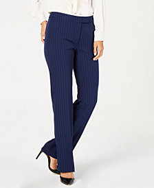Anne Klein Pinstripe Flare Leg Pants, Created for Macy's