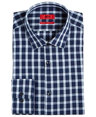 Hugo Men's Slim Fit Navy Check Dress Shirt by Hugo Boss