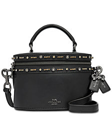 COACH Selena Gomez Leather Crystal Embellished Top-Handle Crossbody