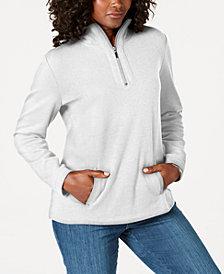 Karen Scott Petite Half-Zip Pullover Top, Created for Macy's