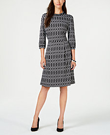 Monteau Petite Printed Fit & Flare Dress