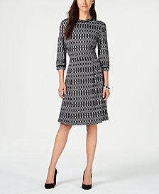 Monteau Petite Printed Fit & Flare Dress