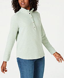 Karen Scott Petite Wing-Collar Pullover Top, Created for Macy's