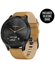 Garmin Unisex vívomove™ HR Premium Tan Suede & Silicone Strap Hybrid Touchscreen Smart Watch 43mm