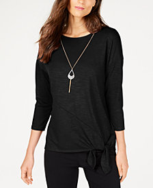 Thalia Sodi Tie-Detail Necklace Top, Created for Macy's