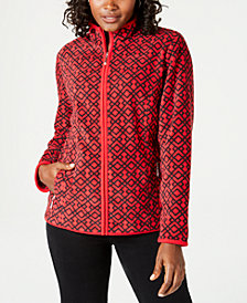 Karen Scott Casual Lattice-Print Zip-Front Jacket, Created for Macy's